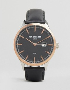 Часы с черным кожаным ремешком и отделкой цвета розового золота Ben Sherman - Черный