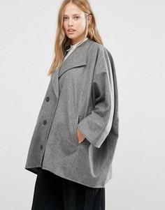 Серое короткое двубортное пальто в стиле oversize Cooper & Stollbrand - Серый