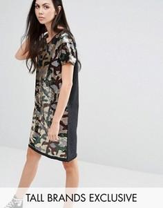 Oversize‑платье с камуфляжным рисунком из пайеток Liquor & Poker Tall - Зеленый