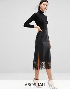 Выбеленная черная джинсовая юбка с кружевом по краю ASOS TALL - Черный