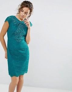 Кружевное платье с короткими рукавами Darling - Зеленый