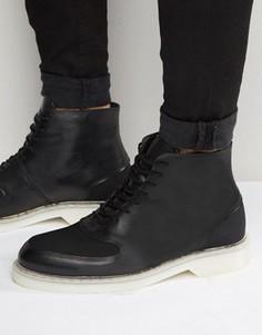 Кожаные ботинки на шнуровке Zign - Черный