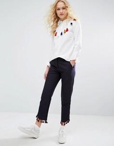 Укороченные брюки с бахромой по низу I Love Friday - Фиолетовый