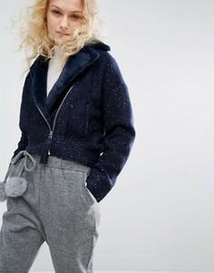 Байкерская куртка с воротником из искусственного меха I Love Friday - Темно-синий