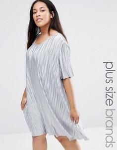 Плиссированное платье-футболка Alice & You - Серебряный