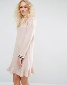 Платье с круглым вырезом и рюшем по низу I Love Friday - Розовый