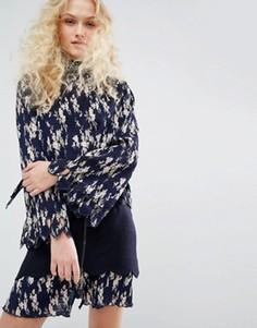 Плиссированная рубашка с цветочным принтом и бантом-завязкой I Love Friday - Темно-синий