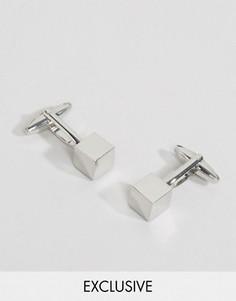 Серебристые запонки с массивным квадратным дизайном Reclaimed Vintage - Серебряный