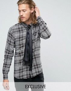 Рубашка классического кроя в клетку с галстуком Reclaimed Vintage - Черный