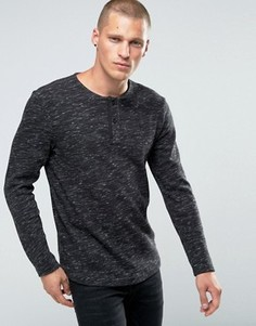 Меланжевая футболка с воротником на пуговицах G-Star Xauri - Черный