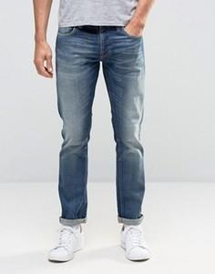 Темные узкие джинсы с эффектом поношенности Nudie GrimTim - Синий
