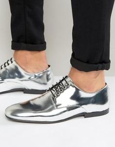 Серебристые туфли на шнуровке ASOS - Серебряный