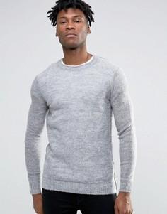 Мохеровый вязаный джемпер с круглым вырезом Selected Homme - Серый
