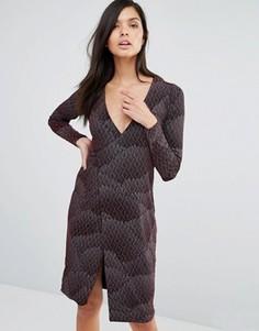 Платье с запахом и принтом Vesper - Красный