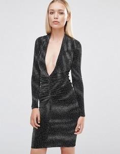 Платье миди с длинными рукавами и глубоким декольте City Goddess - Черный