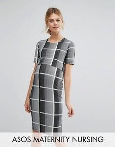 Облегающее платье в клетку для кормящих мам ASOS Maternity - Мульти