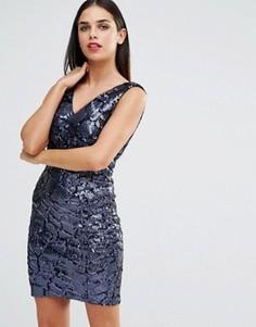 Платье мини с отделкой пайетками Forever Unique Indiana - Темно-синий