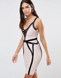 Бандажное платье с черной отделкой Forever Unique Muse - Кремовый