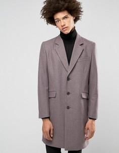 Меланжевое пальто из шерстяной смеси ASOS - Фиолетовый