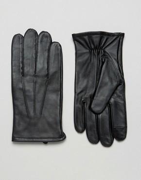 Черные кожаные перчатки для сенсорных гаджетов ASOS - Черный
