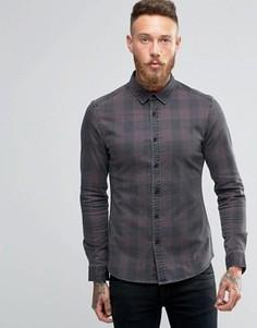 Бордовая джинсовая рубашка скинни в клетку ASOS - Красный