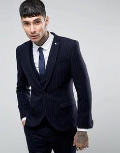 Пиджак скинни с начесом в тонкую полоску Noose & Monkey - Темно-синий