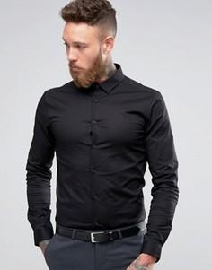 Зауженная черная рубашка с длинными рукавами ASOS - Черный