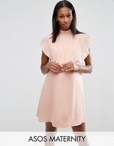 Цельнокройное платье с оборками и высокой горловиной ASOS Maternity - Розовый