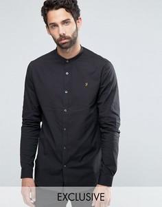 Узкая рубашка стретч с воротником на пуговице Farah - Черный