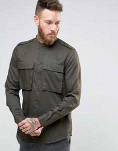 Рубашка цвета хаки в стиле милитари с воротником на пуговице ASOS - Зеленый