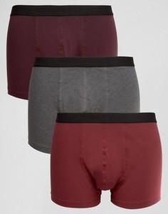 Набор из 3 боксеров-брифов бордового цвета ASOS, СКИДКА - Красный