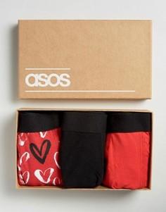 3 боксеров-брифов с сердечками в подарочной упаковке ASOS - СКИДКА 20 - Черный