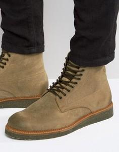 Светло-бежевые замшевые ботинки на пробковой подошве ASOS - Stone