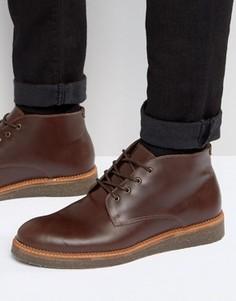 Бордовые кожаные ботинки с пробковой подошвой ASOS - Красный