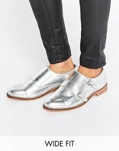 Кожаные ботинки для широкой стопы ASOS MICHAELA - Серебряный