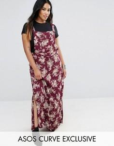 Платье макси в стиле комбинезона с цветочным принтом ASOS CURVE - Мульти