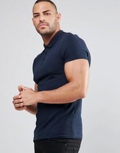 Синяя футболка-поло из ткани пике ASOS - Темно-синий