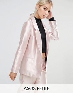 Розовый блейзер с эффектом металлик ASOS PETITE Ultimate - Розовый