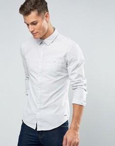 Узкая меланжевая рубашка на пуговицах Esprit - Кремовый