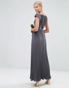 Платье макси с кружевом и отделкой плиссе ASOS WEDDING - Серый