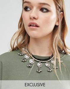 Ожерелье-чокер на пуговице с колокольчиками Reclaimed Vintage - Черный