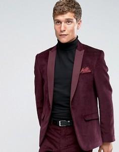 Бордовый вельветовый пиджак слим ASOS - Фиолетовый