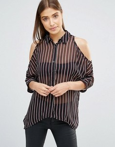 Рубашка в тонкую полоску с открытыми плечами AX Paris - Черный