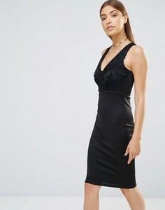 Облегающее платье миди с V‑образным вырезом AX Paris - Черный