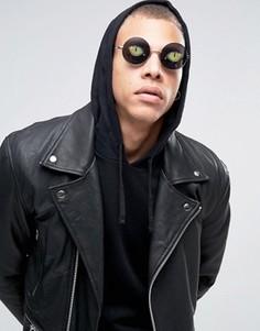 Круглые очки с принтом глаз ASOS - Серебряный