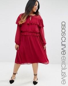 Приталенное платье с оборкой ASOS CURVE - Красный
