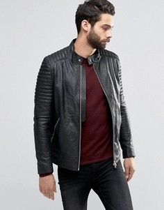 Кожаная куртка с байкерскими рукавами Religion - Черный