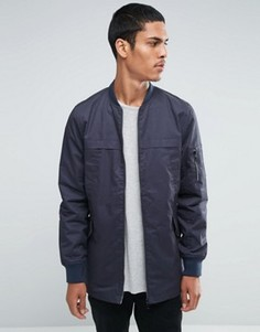 Длинная куртка из хлопковой саржи Threadbare - Темно-синий