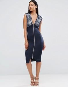 Облегающее платье с молнией спереди и кружевом AX Paris - Темно-синий