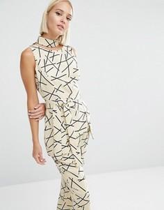 Топ с абстрактным принтом и завязывающимся поясом Lavish Alice - Мульти